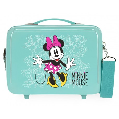 Neceser Rígido en ABS Adaptable a Trolley con Bandolera Minnie Enjoy The Day en color  Turquesa