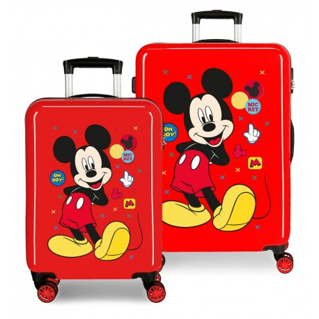 Juego Maletas Cabina y Mediana Rígidas en ABS de 4 Ruedas dobles Mickey Enjoy The Day Oh Boy Rojo