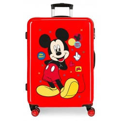 Maleta Mediana Rígida en ABS de 4 Ruedas Mickey Enjoy The Day Oh Boy Rojo