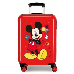Maleta de Cabina Rígida en ABS de 4 Ruedas Mickey Enjoy The Day Oh Boy Rojo