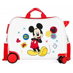 Maleta Infantil Correpasillos rígida en ABS de 4 Ruedas Mickey Enjoy The Day Oh Boy en color Blanco