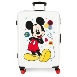 Maleta Mediana Rígida en ABS de 4 Ruedas Mickey Enjoy The Day Oh Boy encolor Blanco