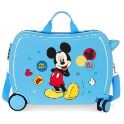 Maleta Infantil Correpasillos rígida en ABS de 4 Ruedas Mickey Enjoy The Day Oh Boy en color  Azul