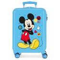 Maleta de Cabina Rígida en ABS de 4 Ruedas Mickey Enjoy The Day Oh Boy en color Azul