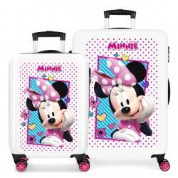 Set maleta Cabina y Mediana - Trasera Fucsia - Rígidas en ABS de 4 ruedas Dobles Joy Minnie
