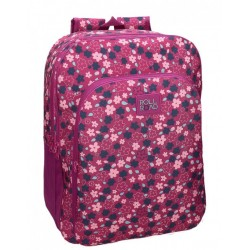 Mochila Grande 44 cm de doble Compartimento Adaptable a Carro Roll Road en color Fucsia