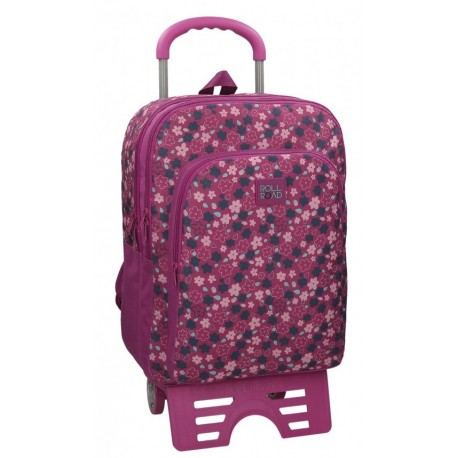 Mochila Grande 44 cm de doble Compartimento con  Carro Roll Road en color Fucsia