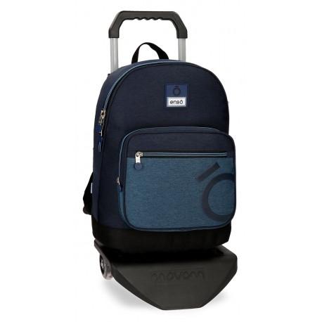 Mochila Portaordenador 15.6 pultadas con Bolso Frontal y con Carro Enso Colección Blue