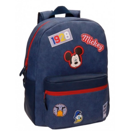 Mochila Grande 42 cm Adaptable a Carro Mickey Parches
