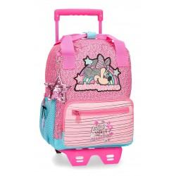 Mochila Guardería 28 cm con Carro Minnie Colección Pink Vibes