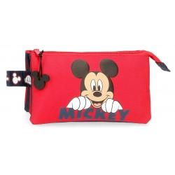 Estuche Triple Mickey Happy color Rojo