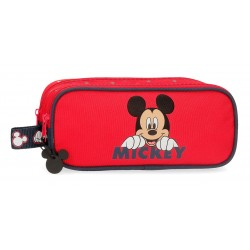 Estuche Doble Compartimento Mickey Happy color Rojo
