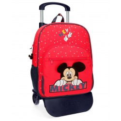 Mochila Mediana de 38 cm con Bolso Frontal y con Carro Mickey Happy en color Rojo