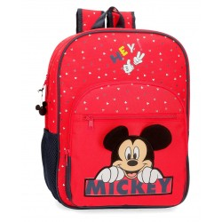 Mochila Mediana de 38 cm con Bolso Frontal  Mickey Happy en color Rojo