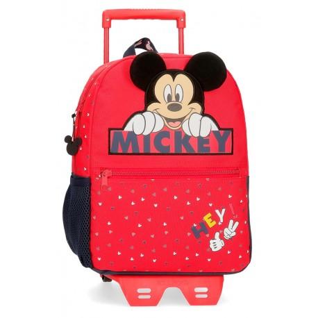 Mochila de Guardería con Carro Mickey Happy en color Rojo