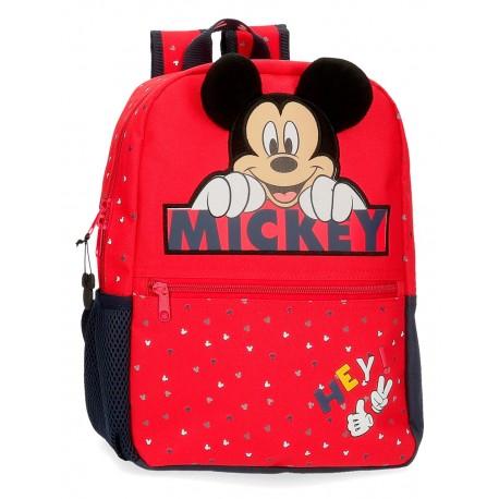Mochila de Guardería 32 cm  Mickey Happy en color Rojo