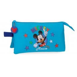 Estuche Triple Compartimento Mickey Stars Azul