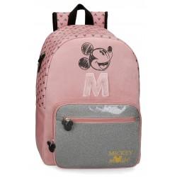 Mochila Grande de un Compartimento y Bolso Frontal Mickey the Blogger en color Rosa