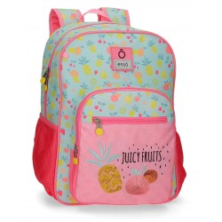 Mochila Mediana Infantil de 38 cm de un Compartimento con Bolso Frontal Adaptable a Carro Enso Juicy Fruits