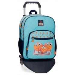 Mochila Infantil mediana de 38 cm con un compartimento y bolso frontal y con carro Enso Basket Family