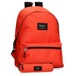 Mochila Grande 44 cm Portaordenador más Portatodo de Regalo Pepe Jeans  Aris Colorfl Naranja