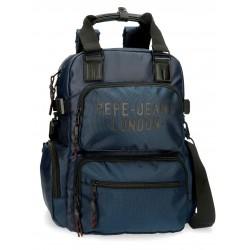 Mochila Grande 41 cm Portaordenador 13.3 Pulgadas con Bandolera Pepe Jeans Bromley azul