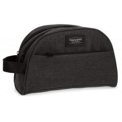 Neceser Doble Compartimento con Bolso Frontal Movom Ottawa en color Negro