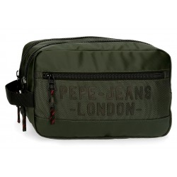 Neceser de Doble Compartimento Adaptable a Trolley Pepe Jeans Bromley en color Verde