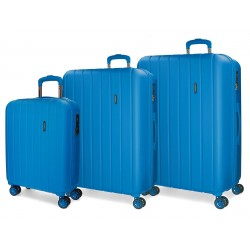 Juego Maletas 55-65-75cm en ABS de 4 Ruedas Movom Wood Azul