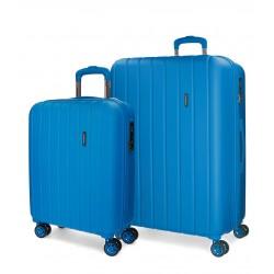 Juego Maletas 55-70 cm EXPANDIBLES en ABS de 4 Ruedas Movom Wood Azul