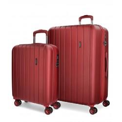 Juego Maletas 55-70 cm EXPANDIBLES en ABS de 4 Ruedas Movom Wood  Rojo