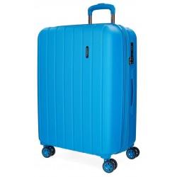 Maleta 70 cm EXPANDIBLE en ABS de 4 Ruedas Movom Wood Azul