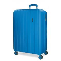 Maleta Mediana de 65 cm EXPANDIBLE en ABS de 4 Ruedas Movom Wood Azul