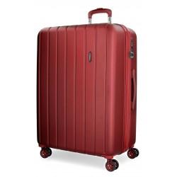 Maleta Mediana de 65 cm EXPANDIBLE en ABS de 4 Ruedas Movom Wood Rojo