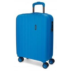 Maleta 55 cm Cabina EXPANDIBLE en ABS de 4 Ruedas Movom Wood Azul