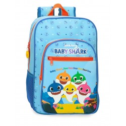 Mochila Infantil de Tamaño Medio 38 cm Adaptable a Carro Baby Shark