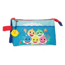 Estuche Infantil Triple Compartimento Baby Shark Happy Family