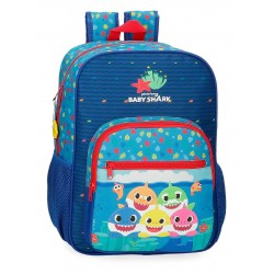 Mochila Infantil Mediana 38 cm de un Compartimento Adaptable a Carro Baby Shark Happy Family