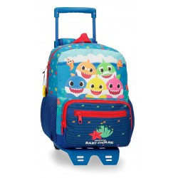 Mochila Infantil 28 cm con Bolso Frontal y con Carro  Baby Shark Happy Familly
