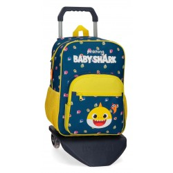 Mochila Infantil Mediana de 38 cm con Bolso Frontal y con Carro Baby Shark My Good Friend