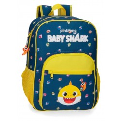 Mochila Infantil Mediana de 38 cm con Bolso Frontal Adaptable a Carro Baby Shark My Good Friend