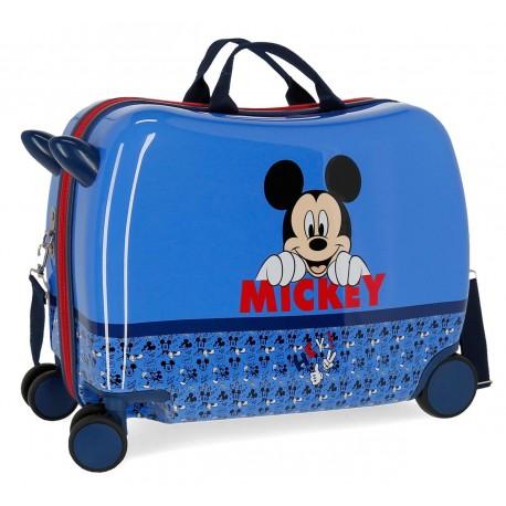 Maleta Infantil Correpasillos de 4 Ruedas con Bandolera Mickey Moods