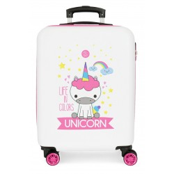 Maleta Infantil Rígida en ABS Roll Road Little Me Unicorn Blanco