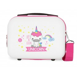 Neceser en ABS Adaptable a Trolley con Bandolera  Roll Road Little Me Unicorn Blanco