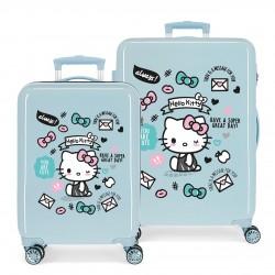 Juego Maletas Cabina y Mediana Rígidas en ABS  Hello Kitty You Are Cute en Azul Claro
