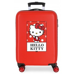 Maleta de Cabina Rígida en ABS de 4 Ruedas Dobles Bow Of Hello Kitty en Color Rojo