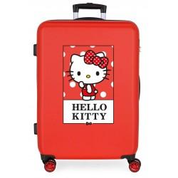 Maleta Mediana Rígida en ABS de 4 Ruedas Bow Of Hello Kitty en Color Rojo