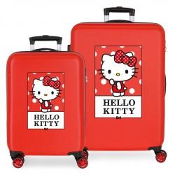 Juego de Maletas Cabina y Mediana en ABS y con 4 Ruedas Bow Of Hello Kitty en Color Rojo