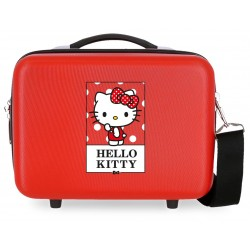 Neceser Rígido en ABS con Bandolera  Bow Of Hello Kitty en Color Rojo