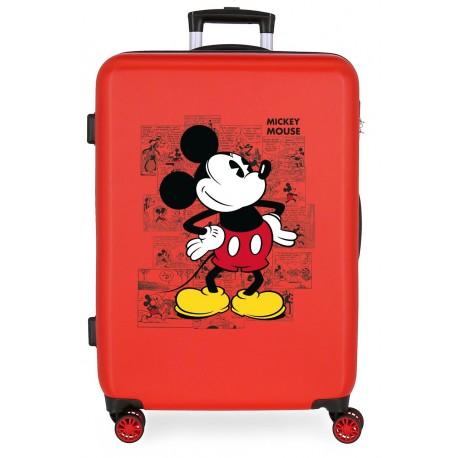 Maleta Mediana Rígida en ABS de 4 Ruedas Dobles Mickey Comic Rojo
